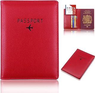 acc279e54f6 Natuce Funda para Pasaporte de Cuero con protección RFID, Porta Pasaporte  Hombre y Mujer,