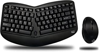 Adesso WKB-1150CB Easytouch Desktop Multimedia Keyboard and Mouse Combo-Wireless Wave Combo -Curved Comfort, Black