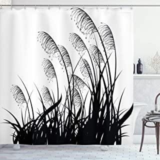 Ambesonne Black and White Shower Curtain, Silhouette of Bushes Wild Plants Wheat Field Twiggy Herbs Seasonal Picture, Cloth Fabric Bathroom Decor Set with Hooks, 70