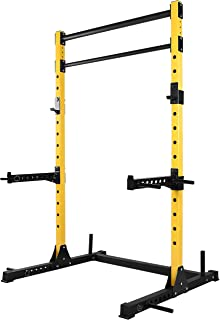 HulkFit Multi-Function Adjustable Power Rack Exercise Squat Stand with J-Hooks and Other..
