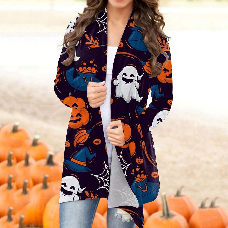 felwors Halloween Cardigan for Women, Womens Plus Size Long Sleeve Open Front Funny Cute Pumpkin Ghost Lightweight Coat
