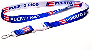 PUERTO RICO Flag Reversible Lanyard Keychain with Quick Release Snap Buckle and Metal Clasp - ID Lanyard for Keys, Badges, USB, Whistle - ID Holder Keychain for Women, Men, Kids (Blue or White)