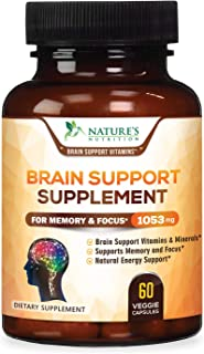 Brain Supplement 1053mg - Premium Nootropic Brain Support - Made in USA - Naturally Supports Focus and Clarity, Helps Memo...
