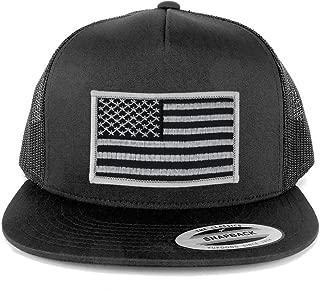 Flexfit 5 Panel American Flag Patched Snapback Mesh Charcoal Cap