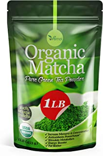 Organic Matcha Green Tea Powder USDA Certified - 100% Pure Macha Ceremonial and Culinary Grade for Smoothies and Baking - 1 Lb