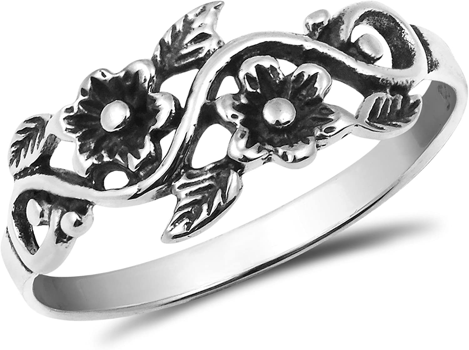 Blooming online shop Super popular specialty store Wild Floral Vine .925 Ring Silver Sterling Band