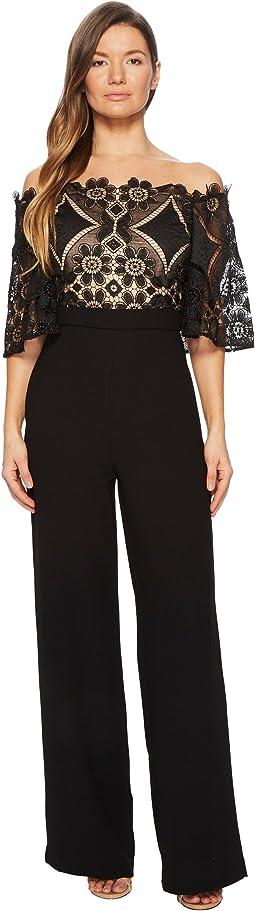 Short Sleeve Off the Shoulder Lace Jumpsuit