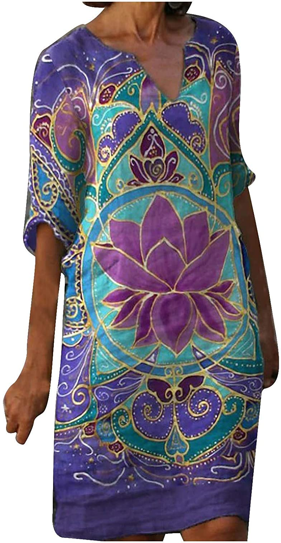 Fanteecy Women Summer V-Neck Cotton Linen Dress Loose Bohemian Plus Size Short Sleeve Midi Dresses Tunic Tops Blouse