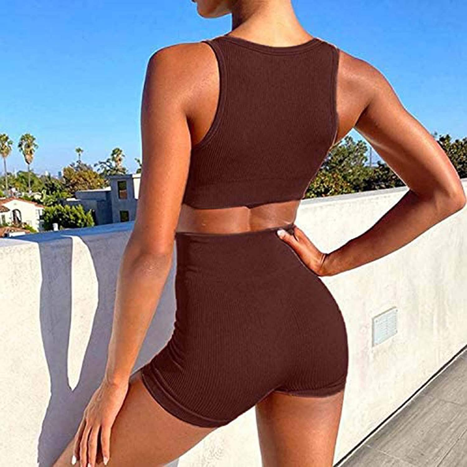 Nixiang Exercise Outfits for Women 2 Pieces Ribbed Seamless Yoga Outfits Sports Bra and Leggings Set Tracksuits 2 Piece