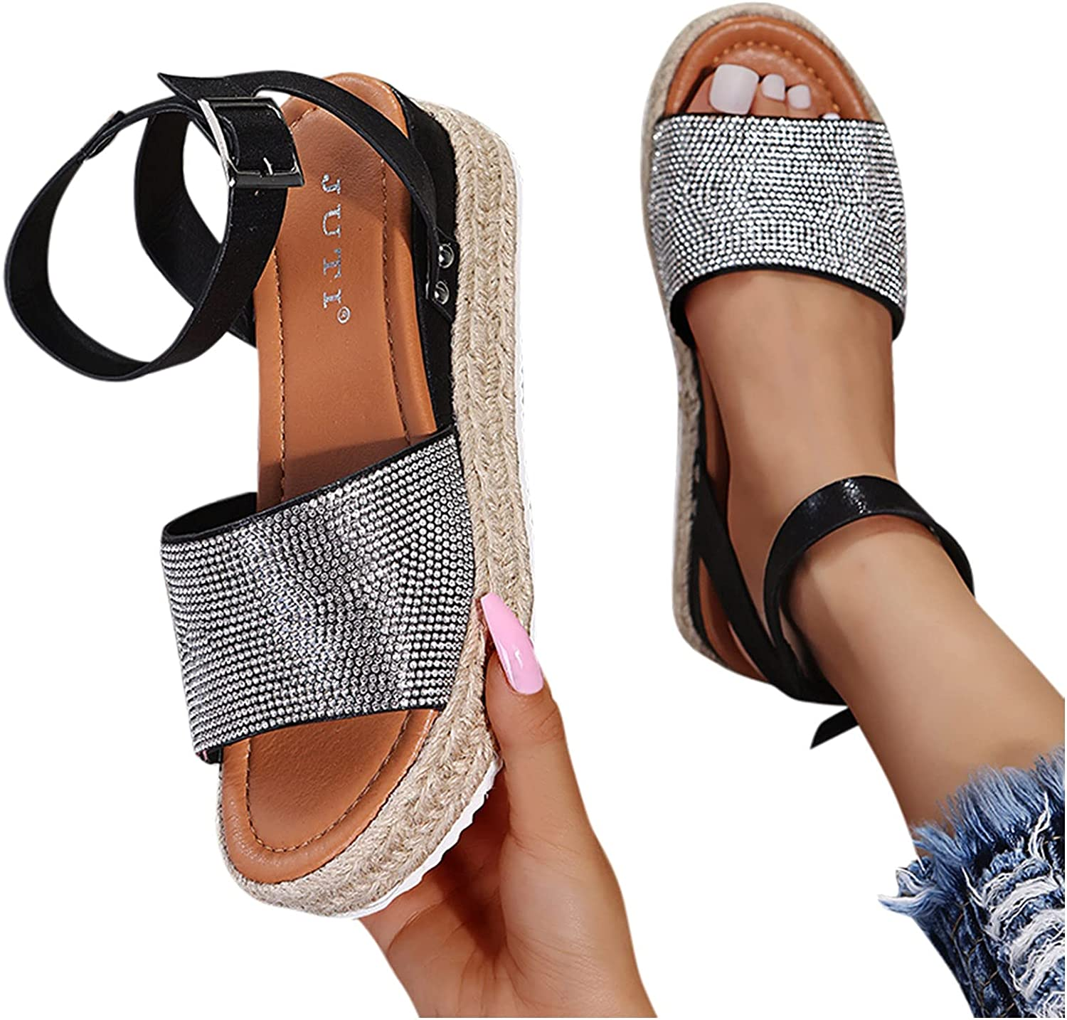 Aunimeifly Wedge Sandals Seattle Mall for Women Espadrille Strap Ankle Open T Selling rankings