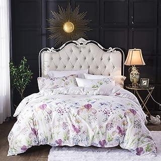 Boho Floral Bedding Set Queen Blue Vintage Style Garden Flower Duvet Cover with Zipper Closure Hotel Soft Lightweight Micr...