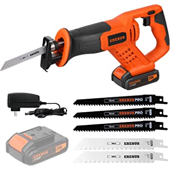 Reciprocating Saws, EREBUS 20V Cordless Li-ion Reciprocating Saw with Fast Charger, Tool-free Blade Change and Variable Speed, 3pcs 6-inch Wood Saw Blade & 2pcs 6-inch Metal Saw Blade