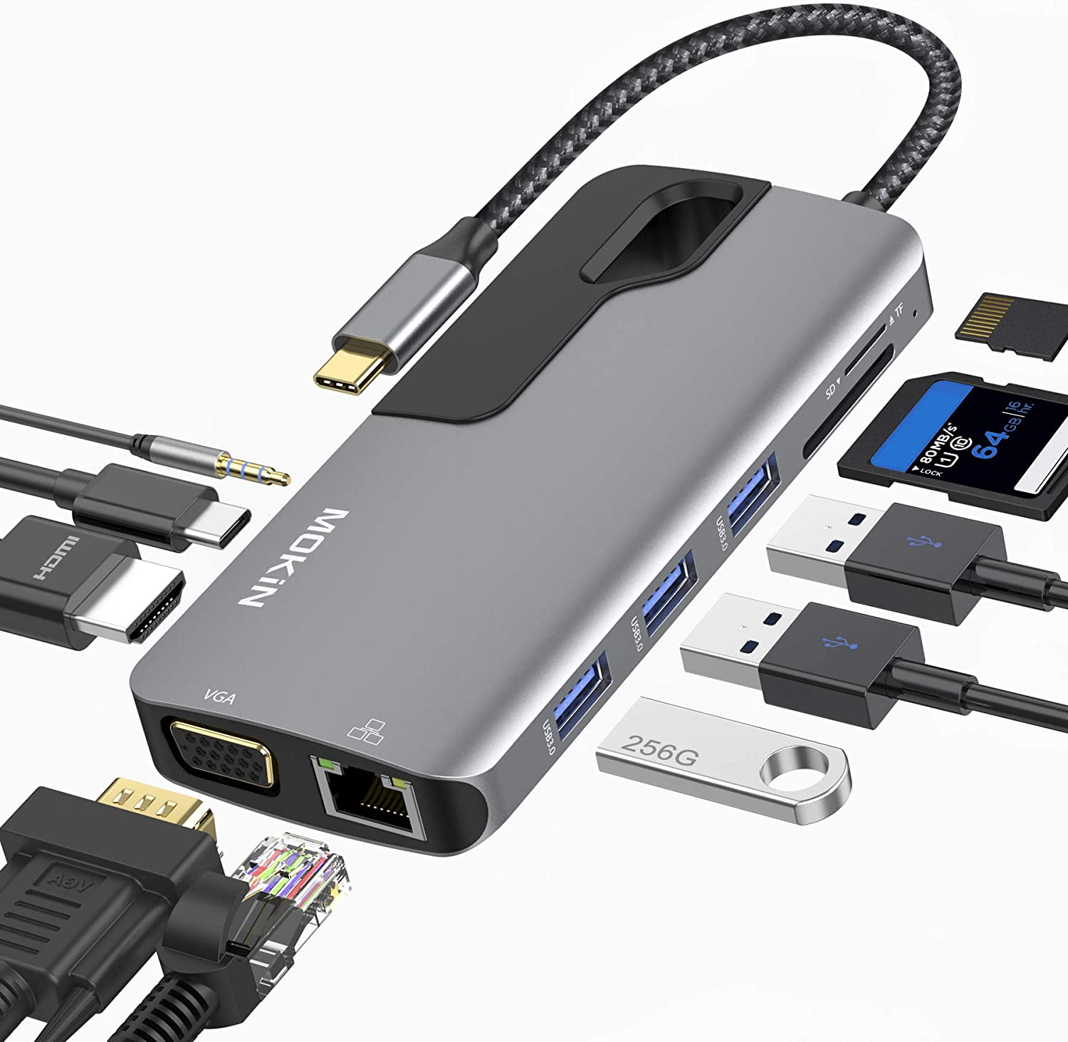 USB C Hub Adapter for MacBook Pro, Thunderbolt 3 Adapter,10-in-1 USB C Dongle with Gigabit Ethernet, USB C to HDMI VGA Adapter,100W Power Delivery,3 USB 3.0, SD TF Card Reader-Through Port Adapters.
