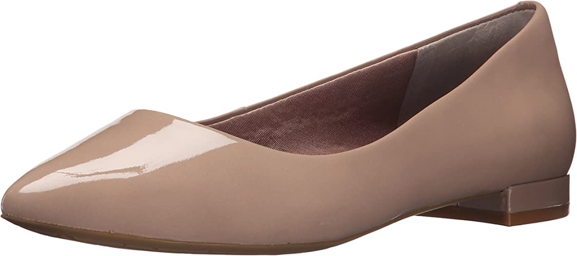 Rockport Wohommes Total Motion Adelyn Ballet Warm Taupe Soft Patent 7.5 W (C)