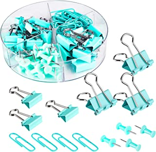 Push Pins Binder Clips Paperclips Sets for Office, School and Home Supplies, Desk Organized (Blue)