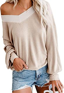 SVALIY Womens V Neck Long Sleeve Waffle Knit Tops Oversize Off Shoulder Pullover Sweater
