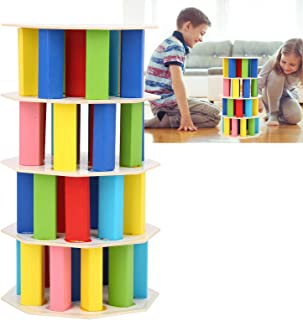 Block Toy, Cascading Game Toy, Bright Colors Exquisite Puzzle Toy for Kids Kids Toy Families(54 Pagoda Jenga, blue)
