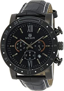 ساعة كوارتز للرجال من ميجر بشاشة عرض كرونوغراف وسوار من الجلد - طراز 3008G