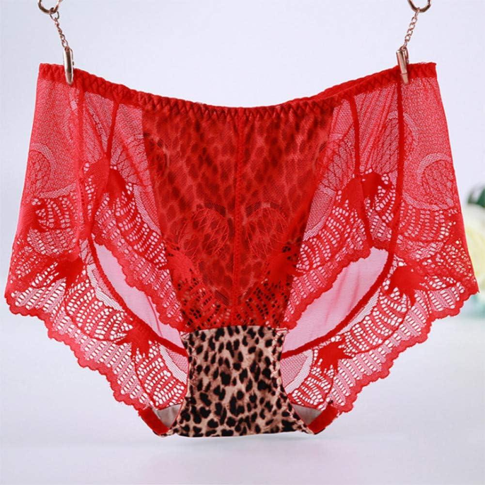 Haoxiaren Spitze Leopard H/öschen Frauen Big Size 2Xl-6Xl Unterw/äsche Mesh Atmungsaktive Slips Mit Hoher Taille Nahtloses Mesh Plus Size Dessous