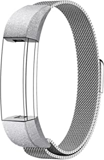 """For Fitbit Alta HR and Alta Bands Metal Small Large (5.5"""" - 9.9""""), Swees Milanese Stainless Steel Replacement Band for Fitbit Alta HR and Alta Women Men, Silver, Black, Rose Gold, Colorful, Champagne"""