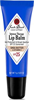 Jack Black - Intense Therapy Lip Balm SPF 25, 0.25 fl oz - Green Tea Antioxidants, Long Lasting Treatment, Broad-Spectrum UVA and UVB Protection, Shea Butter & Vitamin E Flavor