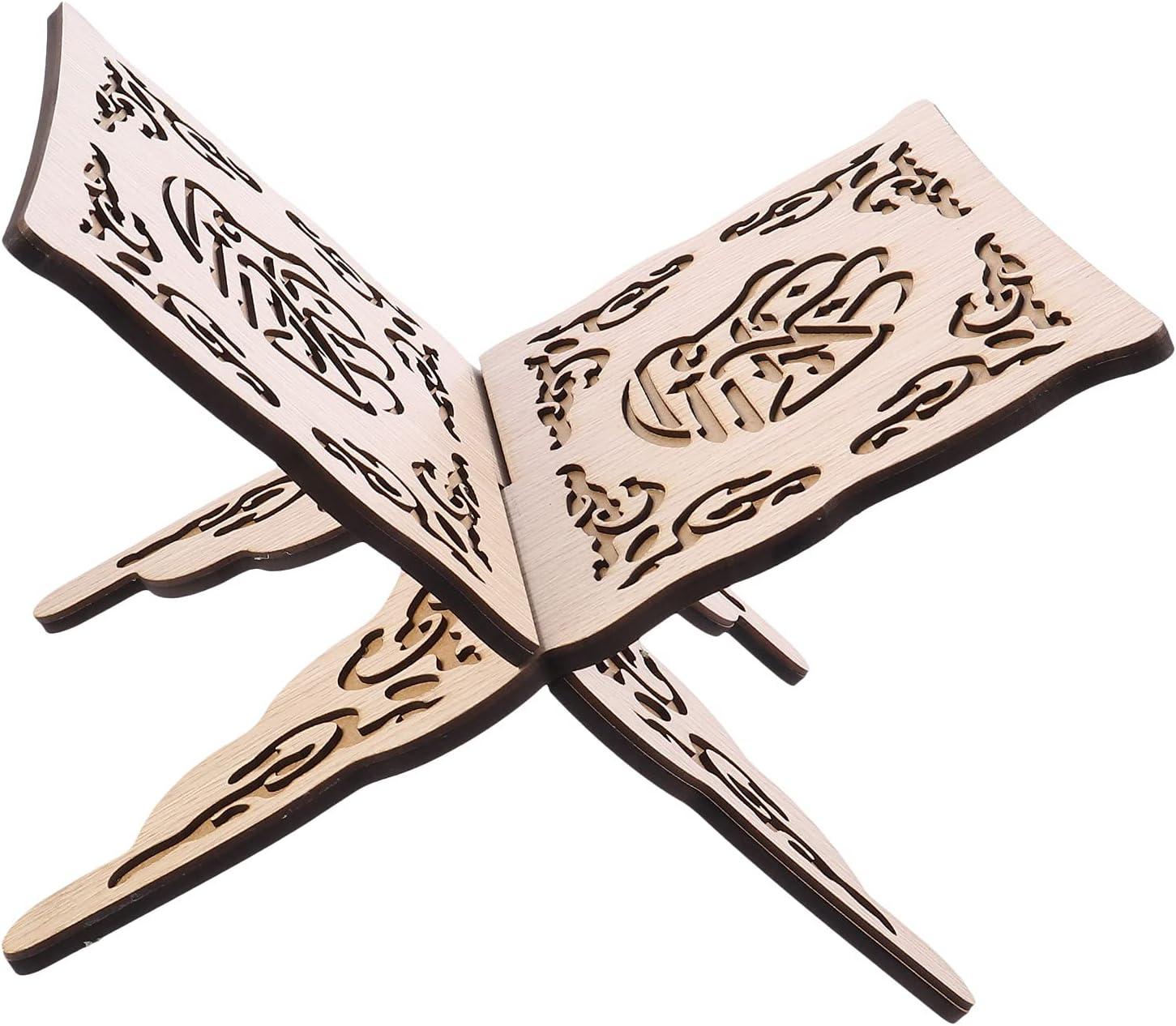 Abaodam Wooden Muslim Book Holder Stand Bookshelf Prayer Book Ho