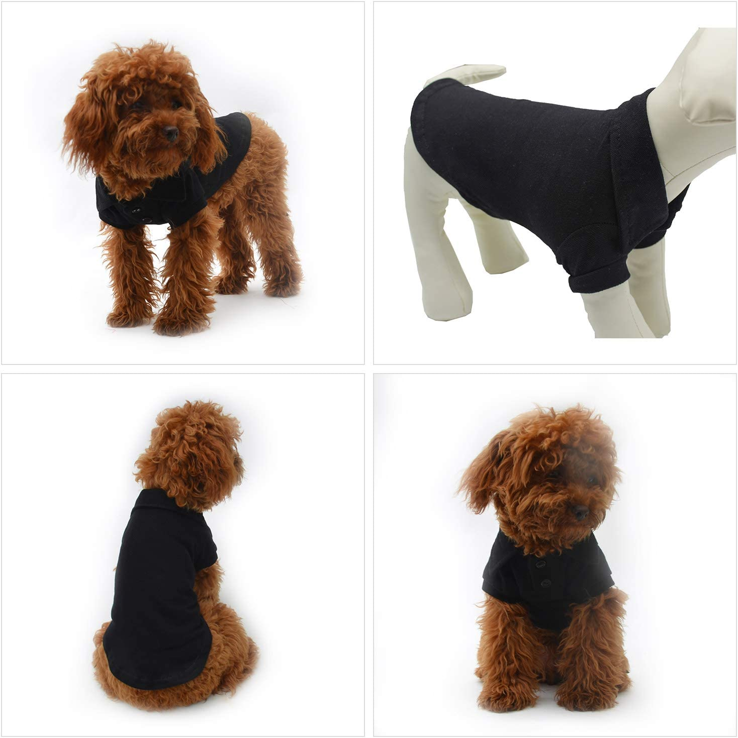 lovelonglong Basic Dog Polo Shirts Premium Cotton Polo T-Shirts for Large Medium Small Dogs with a Two-button Collar Blank Color Black XS