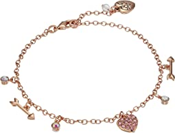 Betsey Johnson - Fuchsia and Rose Gold Heart Anklet