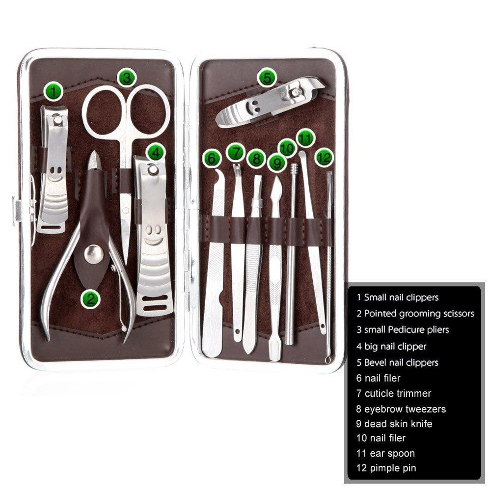 Kit Manicura Pedicure 12 en 1 Cortauñas cutícula (tijeras de uñas de acero inoxidable cuidado Uñas Herramienta de estuche de manicura profesional: Amazon.es: Bricolaje y herramientas