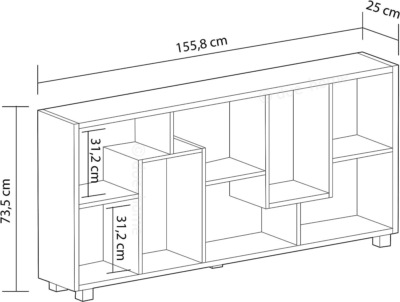 x 25 cm Color Negro Mate Ancho Modelo Deluxe Fondo x 161 cm Librer/ía para Sal/ón o Oficina SelectionHome Estanter/ía Multiposici/ón Medidas: 68,5 cm Alto