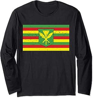 Native Hawaiian Flag Defend Mauna Kea Sacred Aloha Resist   Long Sleeve T-Shirt