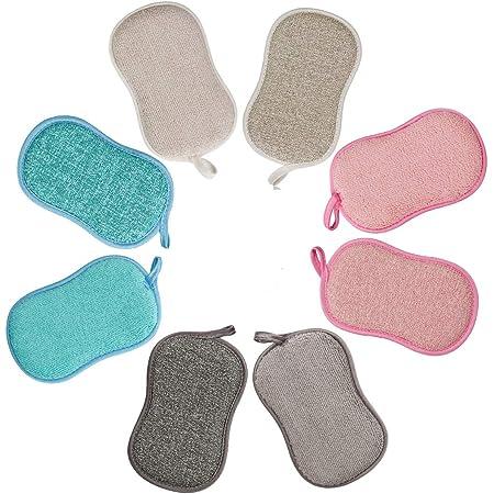 Lot de 8 Eponge Vaisselle Lavable La Cuisine antibactérienne en Microfibre Reutilisable Tampons à récurer éponge Double Eponge pour Poêlons Antiadhésifs Poêles Pots