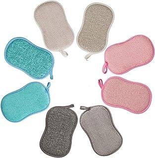 Lot de 8 Eponge Vaisselle Lavable La Cuisine antibactérienne en Microfibre Reutilisable Tampons à récurer éponge Double Ep...
