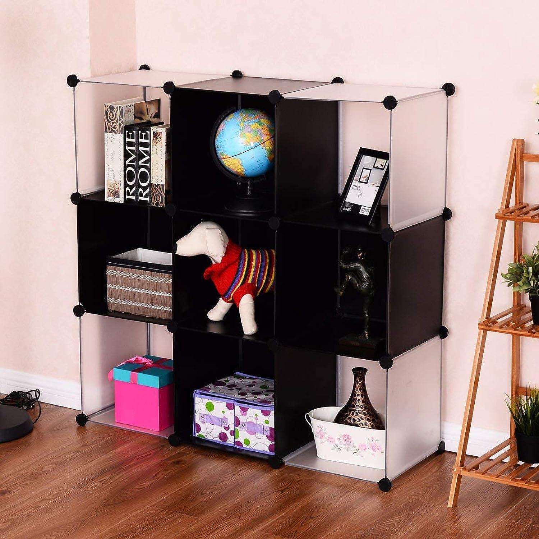 Tangkula Cube Storage Organizer, 9-Cube Bookshelf, DIY Plastic Closet Cabinet, Modular Bookcase, Storage Shelving for Bedroom, Living Room, Office, 43.5 L x 14.6  W x 43.5 H