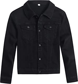 YUKE Boy's Denim Jacket Loose Casual Denim Jacket Children's Fashion Slim Kid Elastic Long Sleeve Denim Jacket 9-14 Age