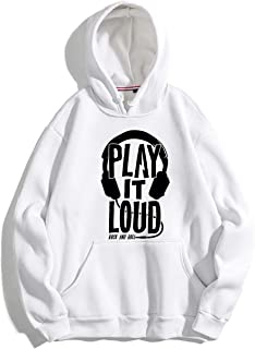 The SV Style Unisex White Hoodie with Black Print: Play IT Loud/Printed White Hoodie/Graphic Printed Hoodie/Hoodie for Men & Women/Warm Hoodie/Unisex Hoodie