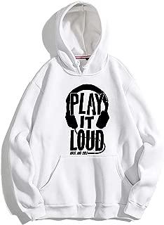 The SV Style Unisex White Hoodie with Black Print: Play IT Loud/Printed White Hoodie/Graphic Printed Hoodie/Hoodie for Men & Women/Warm Hoodie/Unisex Hoodie