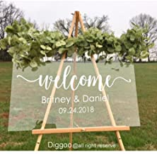 Wedding Mirror Decal Welcome Sign Sticker Vinyl Signage Custom Names and Wedding Date for Bride and Groom Personalised Decor (14