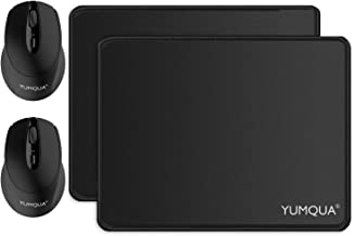 YUMQUA SB222-W Computer Wireless Silent Mouse Bundle with Mouse Pad -2 Pack Set