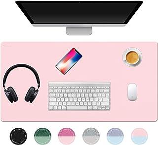 """TOWWI Desk Pad، 32 """"x16"""" PU بلبرینگ میز چرم ، استفاده از پد موس دو طرفه (آبی / صورتی)"""