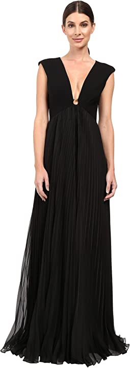 Cap Sleeve Deep V-Neck Gown with Pleated Skirt