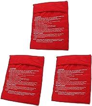 KISEER 3 Pack Reusable Microwave Potato Bag Baked Potato Cooker Pouch, Red