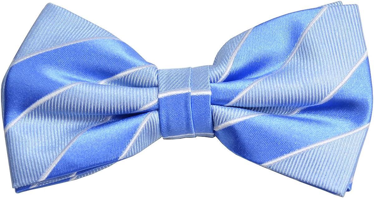 Paul Malone Silk Bow Tie Blue Stripes
