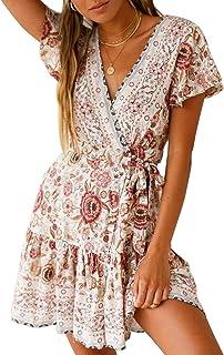 Womens V Neck Bohemian Floral Vintage Printed Ethnic Style Ruffle Swing Hem Split Wrap A Line Beach Short Sleeves Mini Dress