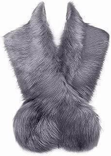 Changuan Extra Large Women's Faux Fur Collar Shawl Wraps Stole Cloak Evening Cape for Winter Coat Grey 125cm