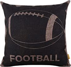 LINKWELL 18x18 Vintage Black American Football Sports Burlap Cushion Covers Pillow Case