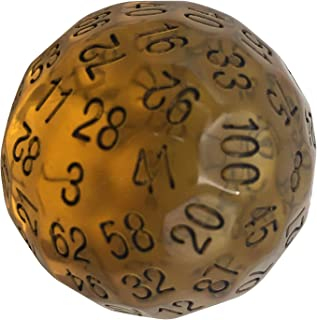 Skull Splitter Dice Single 100 Sided Polyhedral Dice (D100) | Translucent Amber Color Die for RPGs (45mm)