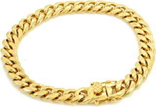 Solid 14k Yellow Gold Finish Stainless Steel 8mm Thick Miami Cuban Link Chain Box Clasp Lock