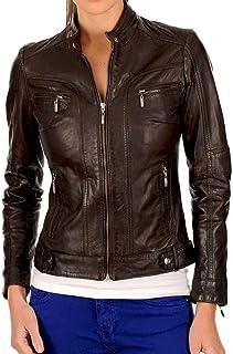 جاكيت راكب الدراجات الجلدي الجلدي للنساء من جلد الخراف (XX-Large، بني)