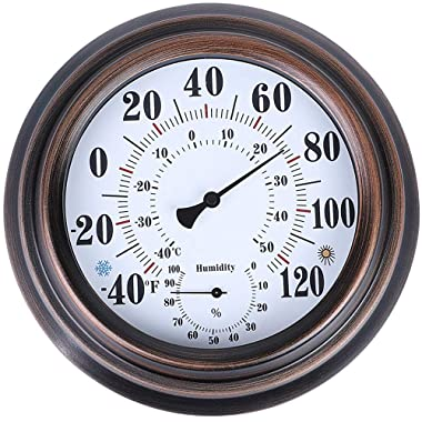 PandaCoCo 8  Indoor Outdoor Thermometer/Hygrometer for Patio, Wall Decorative (Bronze)